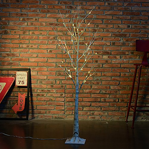 DAXGD LED Lichter, weißer Birkenbaum, 47.2 Zoll, warmes weißes Licht, vervollkommnen für Hauptfest Partei Hochzeits Weihnachten