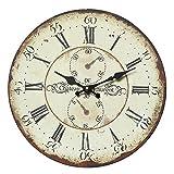 linoows Gammlige Landhaus Wanduhr mit gewollten Gebrauchsspuren, Rustikale Uhr