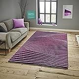 Keymura Savoy Läufer Bettumrandung im Modernen Design Teppich Florhöhe 11 mm Farbe Lila Größe: 80x150 cm