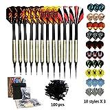 Sinwind 12 Dardos Punta Plastico para Diana Electrónica, Set de dardo de Profesionales con 4 Aletas de Estilo + 30 Plumas DE 10 Patrones + 100 Suave Puntos