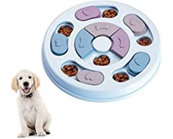 Elezenioc Dog Puzzle Slow Feeder Toy,Puppy Treat Dispenser Slow Feeder Bowl Dog Toy,Dog Brain Games Feeder with Non-Slip, Imp