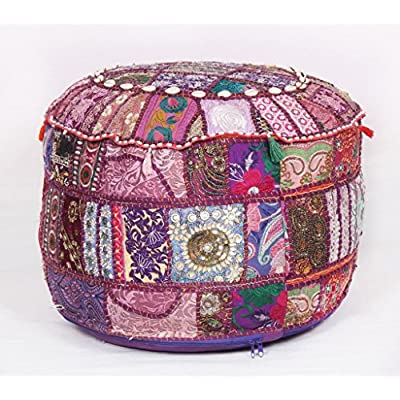 Jaipurtextilehub Bohemian Patchwork Pouf Ottoman Vintage pouffes Foot Stool Bean Bag