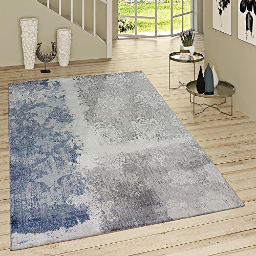 Tappeto pelo corto aspetto denim con motivo rococò blue jeans moderno mélange grigio, dimensione:160x230 cm