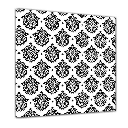 Kunstdruck - Florales Muster Tapete II - Bild auf Leinwand - 40x40 cm einteilig - Leinwandbilder -...