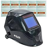 awm WH03C Automatik Schweißhelm + 10x Ersatzgläser Schweißschirm Carbon Schweißmaske Solar Schweißbrille *Sichtfeld 100 x 73 mm