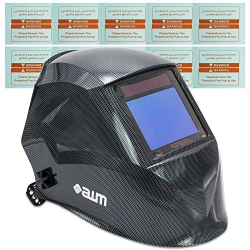 awm WH03C Automatik Schweißhelm + 10x Ersatzgläser Schweißschirm Carbon Schweißmaske Solar Schweißbrille *Sichtfeld 100 x 73 mm - Entflammbar X-schwer Carbon