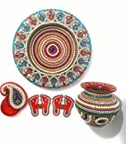 Handcrafted Decorative Puja Thali Set/ Wedding Thali/ Marriage Thali/ Aarti Thali/Pongal Festival Thali with Decorated Plate, Kalash, Kumkum Holder and Charan