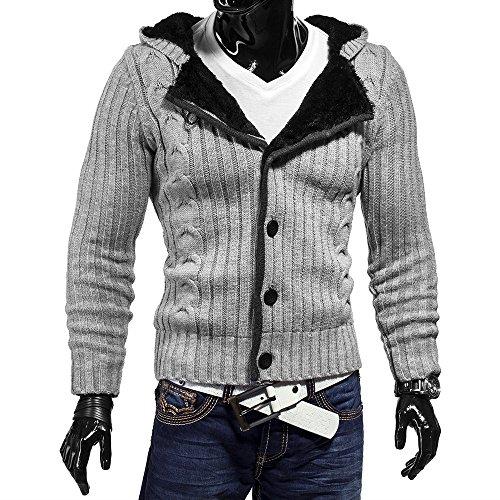 Men sweater polarium with fur hood ID1113 (various colors) Grau