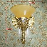 Die asiatische Thai Blattgold Blattsilber Elefant Wohnzimmer Wand Lampen Handwerk Wandleuchte hotel arbeitet die Galerie wand Lampe Licht 招, gold Folie kleine Bild + Golden Sand Schirm + LED-Lampe