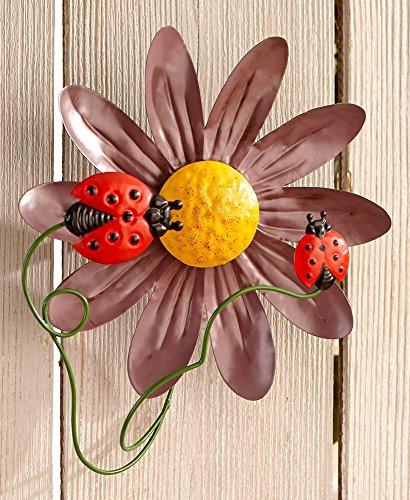 Mattsglobal classic pronto da appendere flower garden metal wall spinners, ladybug