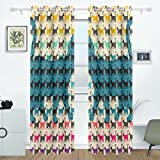 BENNIGIRY Colorful Cats With Curved Tails Curtains Drapes Panels Darkening Blackout Grommet Room Divider for Patio Window Sliding Glass Door 55x84 Inches,2 Panels