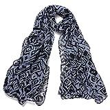 DonDon® Damen Schal Tiger-Muster blau und schwarz