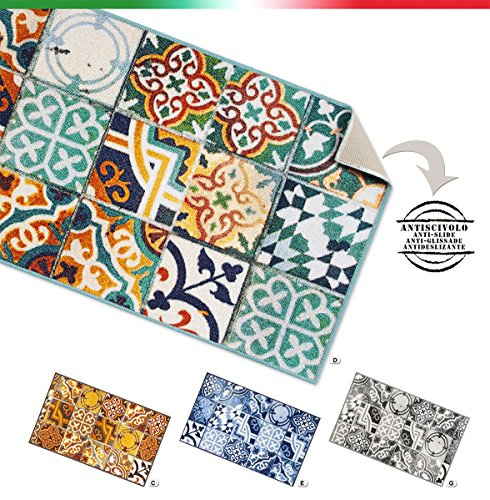 Alfombra de cocina con diseño de azulejos, mayólica. 7 medidas, Mult