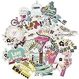 FaCraft Scrapbooking Suministros Ephemera Scrapbook Pegatinas Die-Cut Pack, Feliz Cumpleaños, 25 Piezas Colores Surtidos / Diseños