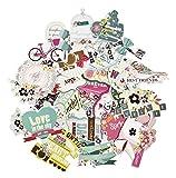 FaCraft Scrapbooking Supplies Ephemera Scrapbook Embellishments Die-Cut Pack,Happy Birthday,25 Pieces Assorted Colors/Designs