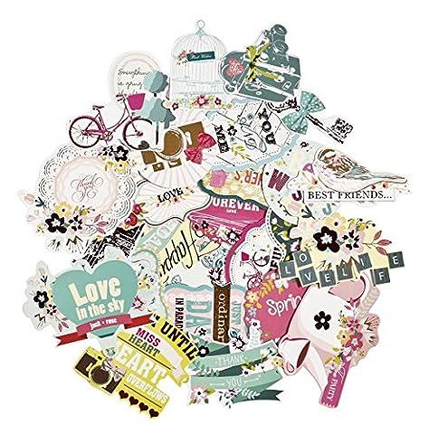 Facraft Scrapbooking Stickers Ephemera vintage Scrapbooking Fournitures Décorations pré-découpées Lot, Old-time et Happy Jour après Jour, 50pièces Motifs assortis 25 Pieces,Happy Birthday
