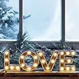 Lights4fun Letrero Love de Madera con LED a Pilas