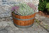 Holzfass als Pflanzkübel, Weinfass halbiert geölt (D70 cm) (mit Halteschlaufen und Rollen)