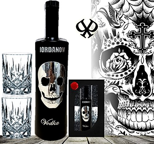 DAS Vodka Geschenk | Geschenkset Black Wodka Luxus Designer Vodka Iordanov mit Chrome Skull | inkl. 2 edlen Gläsern | Luxus Geschenk für Mann und Frau | Die Idee zum Geburtstag