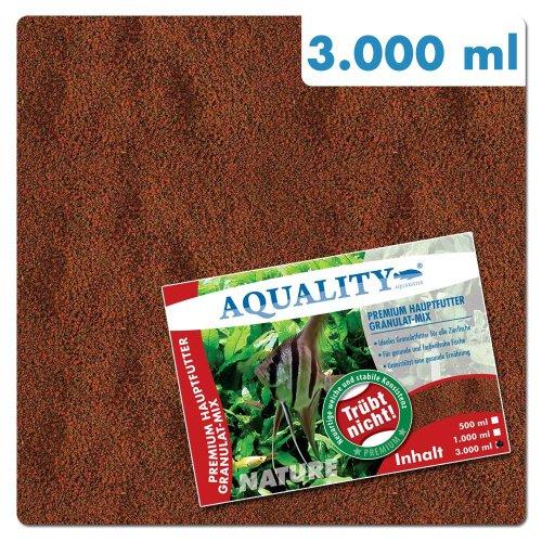 AQUALITY PREMIUM Hauptfutter Granulat-MIX 3.000 ml (GRATIS Lieferung innerhalb Deutschlands - Neuartige weiche und stabile Konsistenz. Trübt nicht - Ideales Granulatfutter für alle Zierfische - Opti