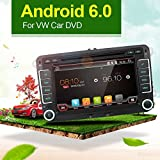 "With camera+Canbus+map card 7"" 2 Din android 6.0 Qual-core Touch Screen Car DVD Player navigation for VW Volkswage,Support Mirror Link/OBD2/Subwoofer/RDS/Bluetooth map card for Volkswagen VW Car"