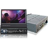 Ezonetronics 9601 Indash Autoradio avec écran Coulissant 1DIN pour Voiture, Radio FM Bluetooth MP3 MP4 avec Port USB/SD, entrée caméra arrière + télécommande 17,8 cm