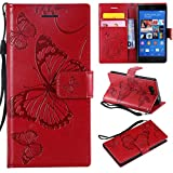 Hozor Sony Xperia Z3 Compact Handyhülle, Retro Großer Schmetterling Muster PU Kunstleder Ledercase Brieftasche Kartenfächer Schutzhülle mit Standfunktion Magnetverschluss Flip Cover Tasche, Rot