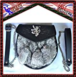GREY RABBIT FUR SPORRAN TRIPLE LION RAMPANT SEMI DRESS SPORRAN 3 TASSELS