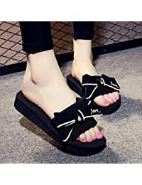 La moda casual, inferior grueso zapatillas, fresco verano femenina anti-patines, calzado de playa,34,Rosa