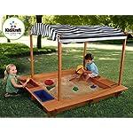 KidKraft Outdoor Sandbox w/Canopy, Wood, Natural, 163x153x130 cm