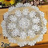 ustide rund handgefertigt Häkel Tischset Rustikal Baumwolle Tisch Spitzendeckchen weiß Tabelle beinhaltet, 45cm, 2