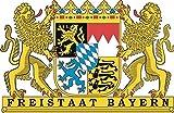 U24 Aufkleber Freistaat Bayern Wappen 30 x 20 cm Autoaufkleber Sticker Konturschnitt