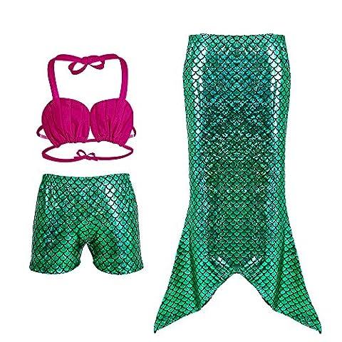 KINDOYO Girl's Kids Shells 3PCS Tankini Mermaid Tai Fin Maillot de bain Princesse Ensemble de bikini Maillot de bain Costume de bain,Coquilles plates 140