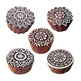 #2: Floral and Mandala Designs Wood Stamps for Printing (Set of 5)