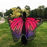 Overdose 197*125CM Frauen Weiche Gewebe Schmetterlings Flügel Schal feenhafte Damen Nymphe Pixie Kostüm Zusatz (197*125CM, Hot Pink) - 3