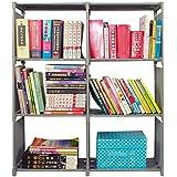 (3+3)Tier DIY Kids Bookcase Storage Cube Closet Organizer Shelf, 6-cube Cabinet Bookcase Display Storage Shelf,Pusheng (Grey)