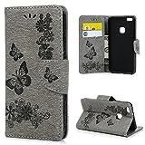 Huawei P10 Lite Hülle Case YOKIRIN Großer Schmetterling Wallet Tasche