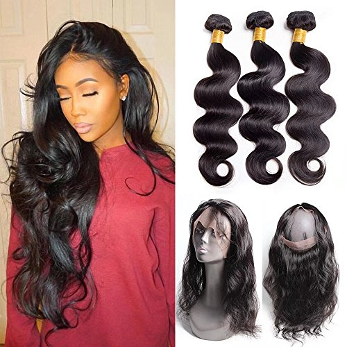 Maxine hair 9a grade 360 lace frontal closure with 3 bundles malaysian body wave virgin hair bundles with 360 lace frontal unprocessed human hair with 360 frontal(10 10 10+10 360frontal, natural color)