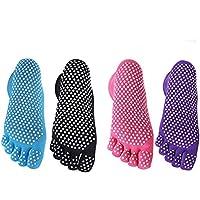 Calcetines antideslizantes para el suelo de Akfyeu. Calcetines transpirables para yoga o fitness. Set de 4pares