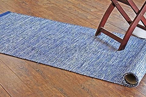 70x240 cm Tapis de chambre multicolore moderne. Tapis tissé plat réversible fait avec du fil 100 % organique et des colorants naturels. 2'4
