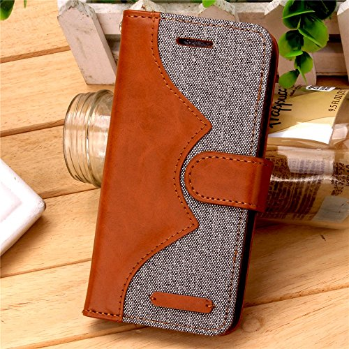 iPhone Case Cover Mischfarben-Wellen-Muster-Fall-Abdeckungs-Jeans PU-lederne Retro- Folio-Standplatz-Fall-Abdeckung mit Bargeld-Karten-Schlitzen für iPhone 7 Plus ( Color : Gray , Size : IPhone 7 Plus Gray