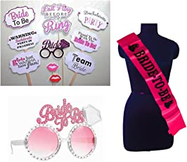 Party Propz Bachelorette Combo (Bride To Be Sash+Eyeglass+ Bride To Be Props)