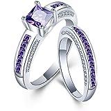 Allring, anello in argento da donna, semplice principessa, con ametista, con cristalli, elegante, regalo per donne e ragazze