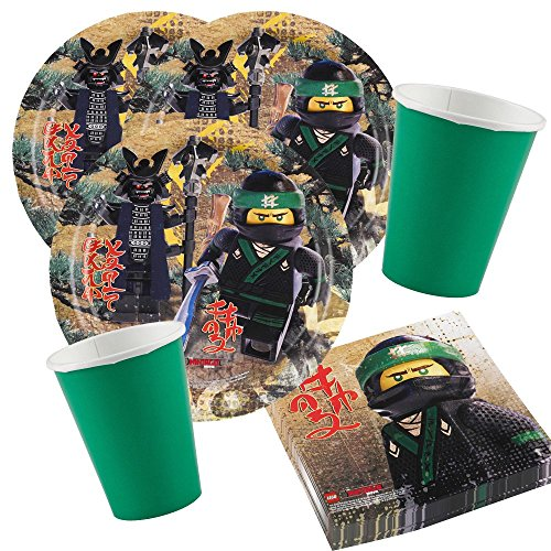 arty-Set Lego Ninjago - Teller Becher grün, Servietten für 8 Kinder ()
