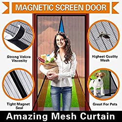 House of Quirk Mosquito Door Magnetic Magic Screen Curtain Screen Mesh (Fits Door Size 19.5x83 inches) (Brown)