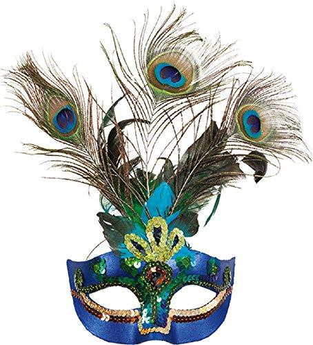 türkis gefedertes Augen Maske mit Stab MASKENBALL KARNEVAL Mardi Gras NEU Jahre Party Kostüm Verkleidung Zubehör (Gefiederte Maskerade Masken)