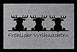 TÜRMATTE Schmutzmatte FRÖHLICHE WEIHNACHTEN [ ELCHE ] Winter Geschenk Fußmatte Hellgrau