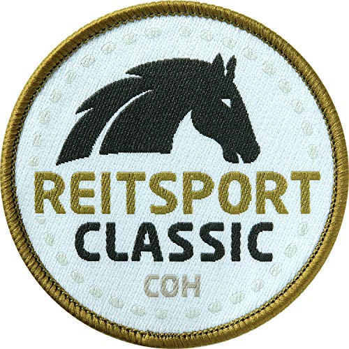 2 x Reitsport Abzeichen gewebt 60 mm Classic / Pferd Reiten Pferde-Sport Reit-Abzeichen / Aufnäher Aufbügler Flicken Sticker Patch / Reit-Bekleidung Reit-Ausrüstung Dressur Voltigieren Reitkunst -