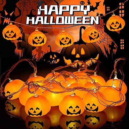 Zucca luce della stringa, led luci stringa, 3m 20 led luci di zucca di halloween luci decorative alimentazione a batteria per halloween, natale, patio, casa (bianco caldo)