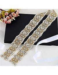 XINFANGXIU 1 yard Rhinestone Applique con Cristales y Perlas para el Vestido  Headpieces Bolsas Cinturon para dbfd34fc50ec